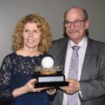 Dr. Pearl and staff member with Pearl Award
